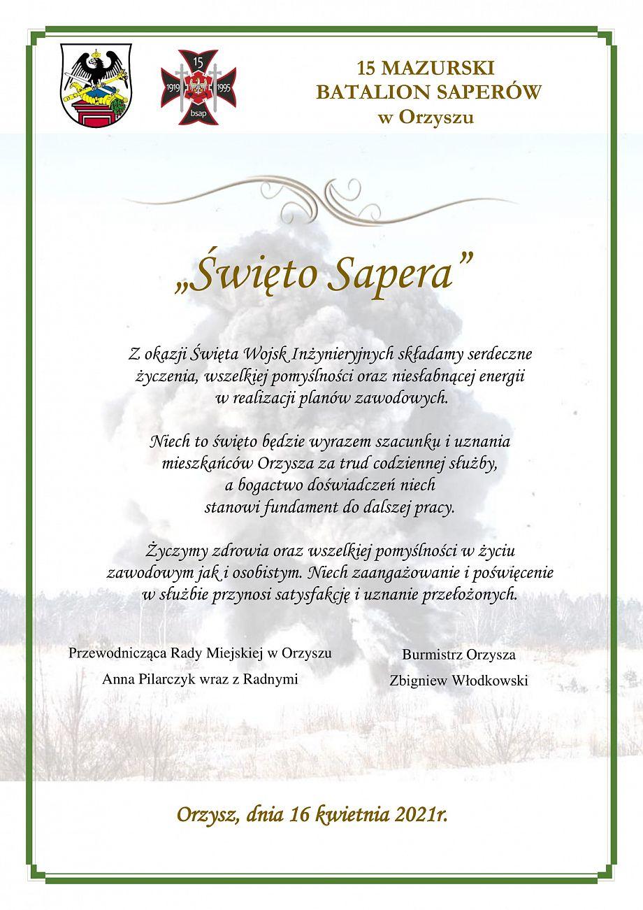 Życzenia z okazji Dnia Sapera
