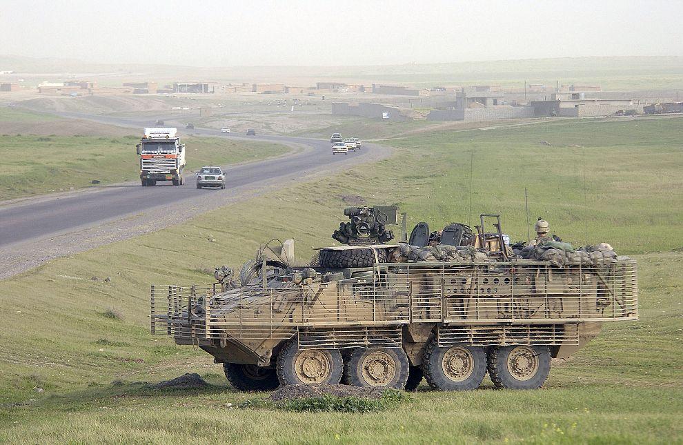 A US Army (USA) M1126 Stryker near Mosul, Iraq (2005)